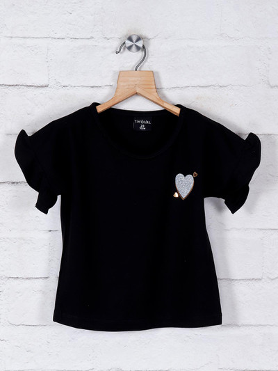 Tiny Girl solid black cotton casual top