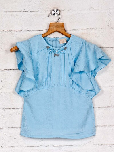 Tiny Girl solid blue casual cotton top