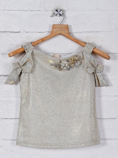 Tiny Girl solid gold georgette top