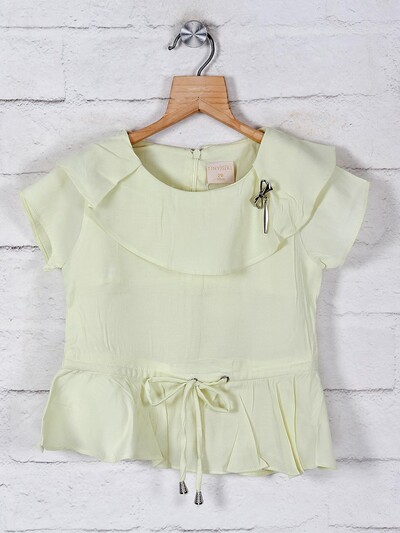 Tiny Girl solid lemon yellow top for girls in cotton