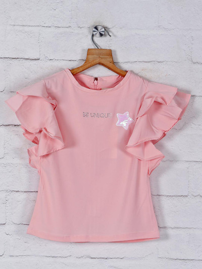 Tiny Girl solid peach cotton top