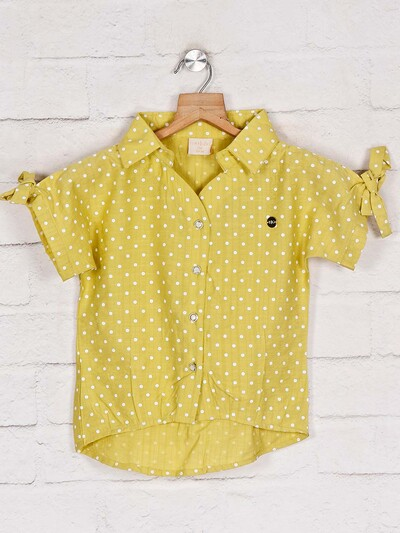 Tiny Girl yellow printed cotton top for girls