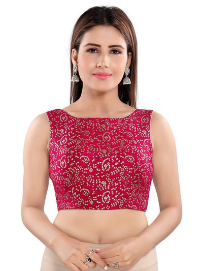 Tomato pink designer raw silk readymade blouse