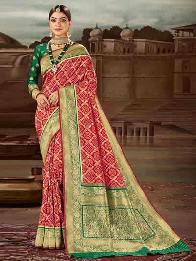 Traditional red wedding session saree in banarasi silk