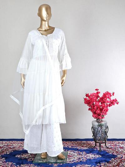 Trending white georgette designer salwar kameez