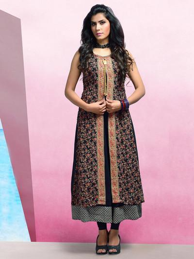 Trendy black georgette printed designer kurti