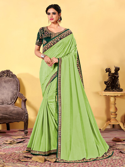 Trendy pista green dola silk sari for party