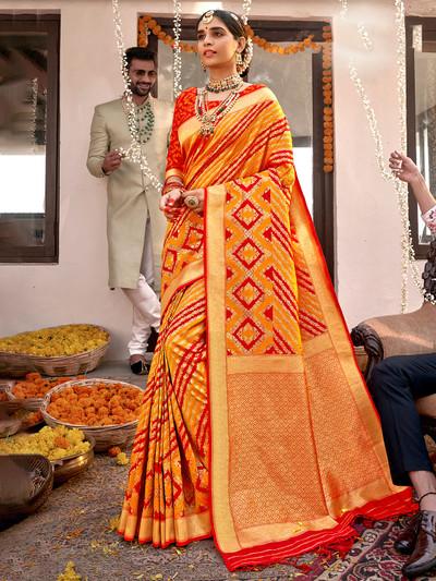 Turmeric yellow wedding functions banarasi silk saree
