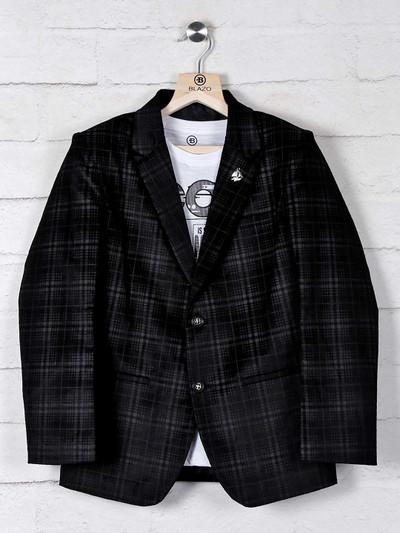 Tweed style terry rayon black blazer