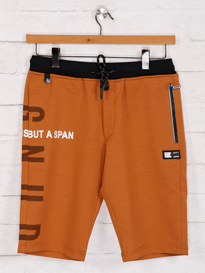 TYZ solid light brown cotton slim fit shorts