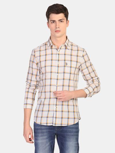 U S Polo Assn beige checks mens shirt