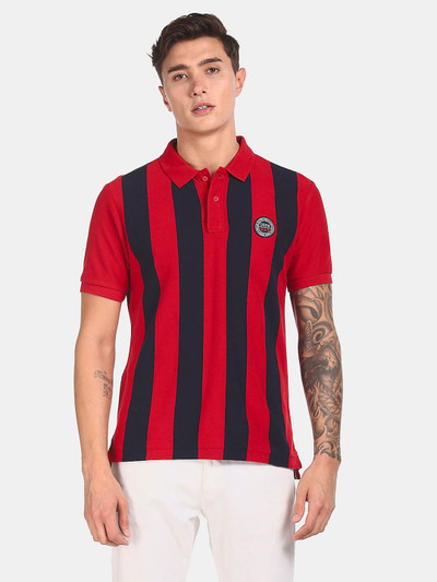U S Polo Assn black and red polo stripe t-shirt