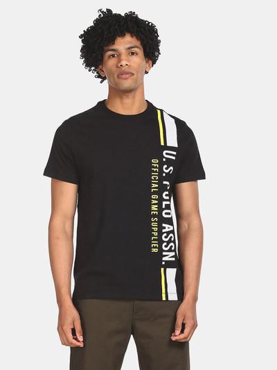 U S Polo Assn black printed casual mens t-shirt