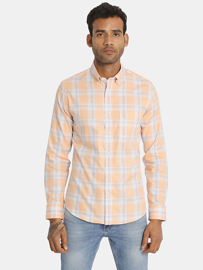 U S Polo Assn checks orange cotton shirt