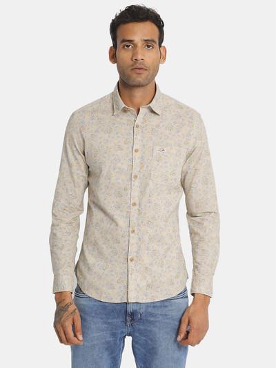 U S Polo Assn cotton beige printed shirt