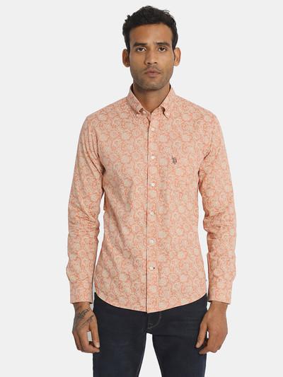 U S Polo Assn cotton printed peach slim fit shirt