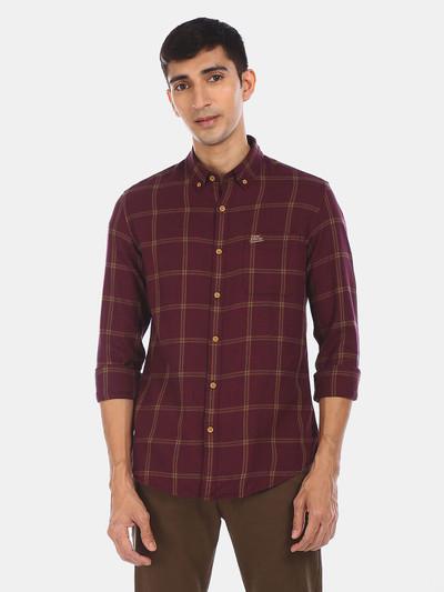U S Polo Assn maroon checks cotton shirt