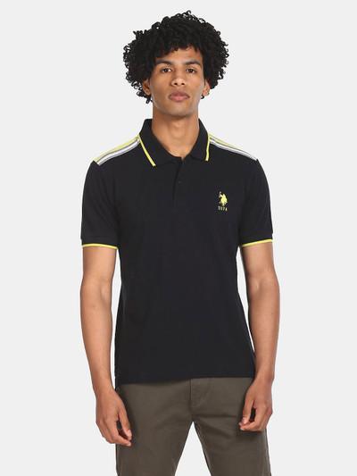 U S Polo Assn mens black solid t-shirt