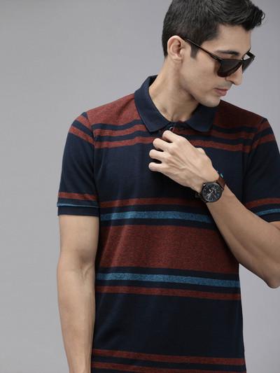 U S Polo Assn navy casual stripe t-shirt