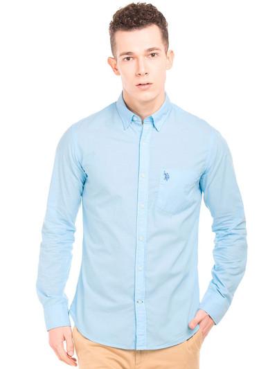 U S Polo Assn off blue solid shirt