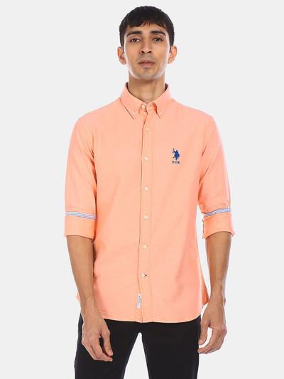 U S Polo Assn peach solid casual shirt