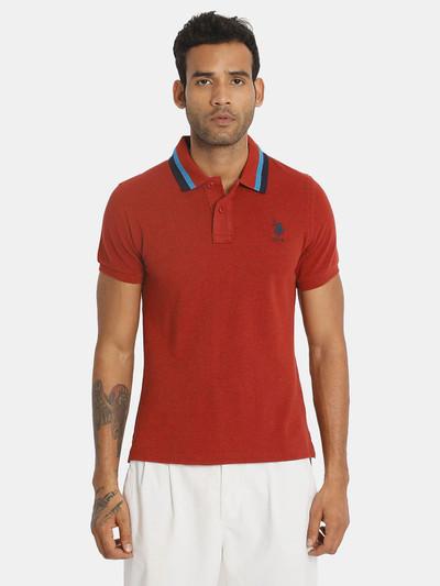U S Polo Assn rust orange solid polo t-shirt