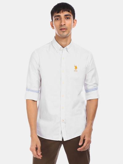 U S Polo Assn white solid slim collar shirt