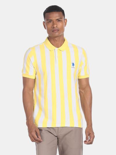 U S Polo Assn yellow slim fit stripe t-shirt