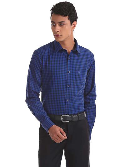 U S Polo royal blue color checks shirt
