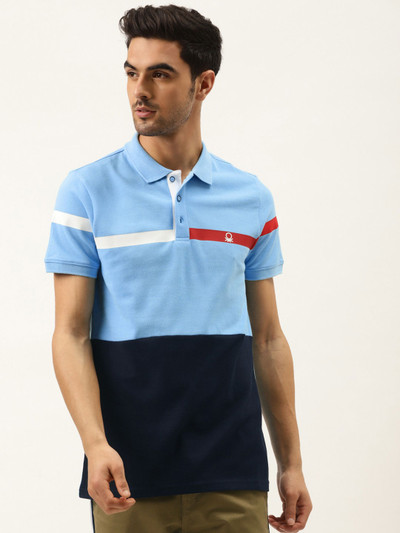 UCB blue solid half sleeves cotton polo t-shirt