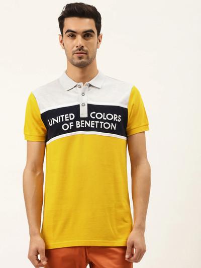 UCB emboss printed yellow casual polo t-shirt