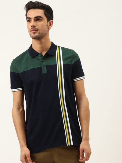 UCB green and navy stripe casual t-shirt