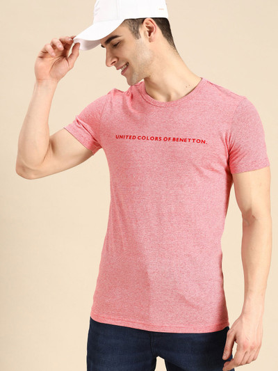 UCB pink printed casual round neck t-shirt