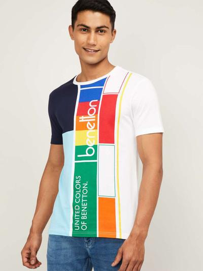 UCB white printed casual round neck t-shirt