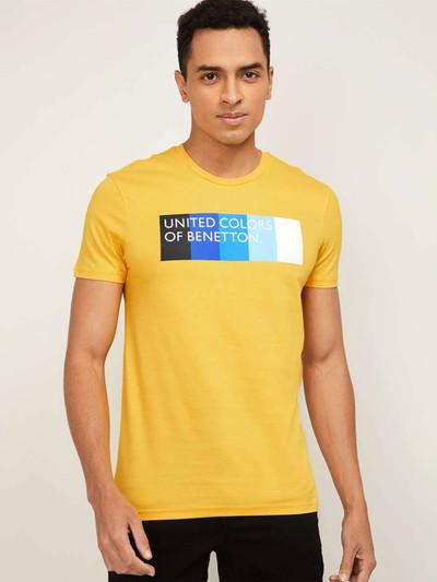 UCB yellow printed half sleeves cotton t-shirt
