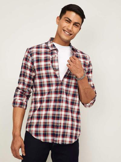 United Colors of Benetton cream checks cotton shirt