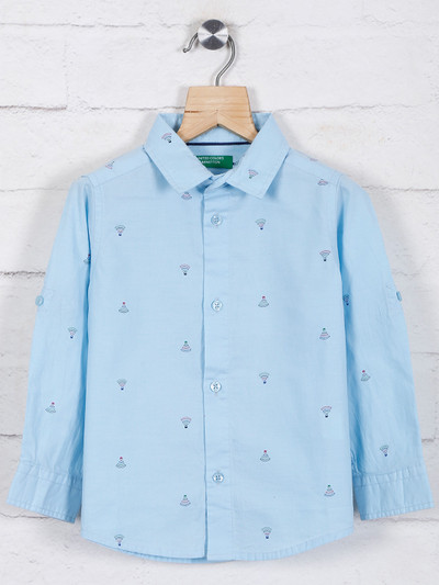 United Colors of Benetton sky blue printed shirt