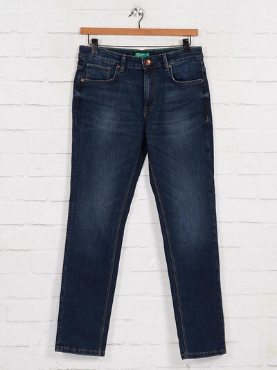 United Colors of Benetton slim fit washed navy jeans