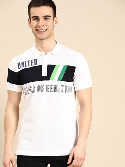 United Colors of Benetton white printed polo t-shirt