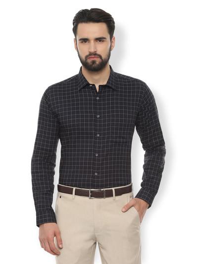 Van Heusen checks black slim fit shirt