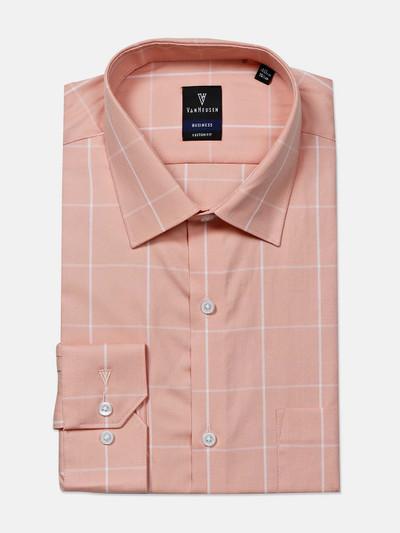Van Heusen peach checks slim collar shirt