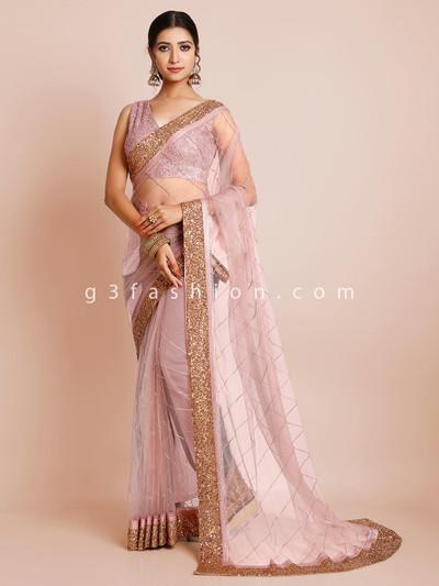 Violet party wear saree in tissue silk