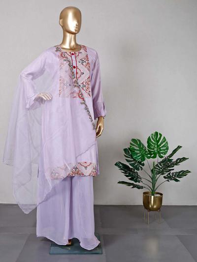 Violet raw silk party wear salwar kameez