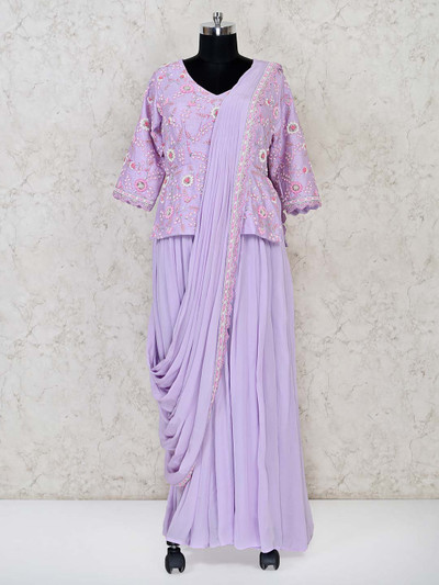 Violet raw silk wedding session outfit