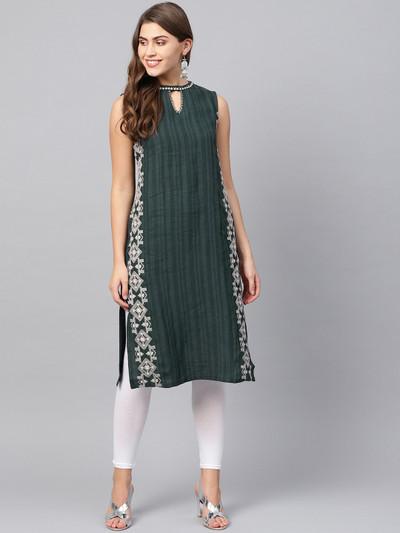 W cotton fabric green hue kurti