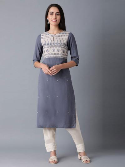 W grey thread weaving cotton kurti