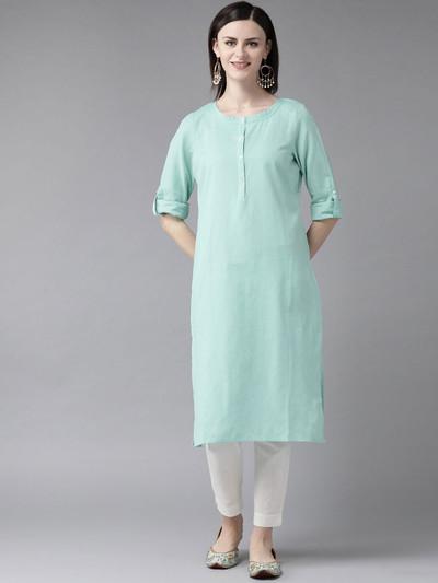 W solid aqua cotton round neck kurti
