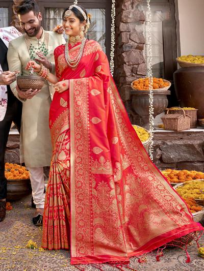 Wedding ceremony banarasi silk saree in cherry red