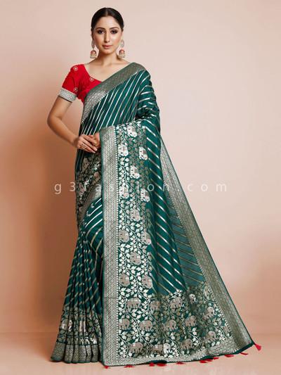 Wedding exclusive bottle green dola silk saree