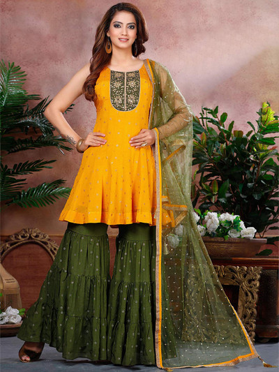 Wedding function chiffon sharara suit in yellow and olive
